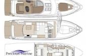 Sealine T60 Flybridge layout on all decks.