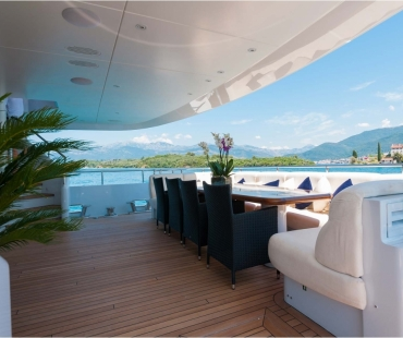 View of the stern of the superyacht