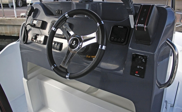 Large steering wheel in the cockpit