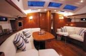 White leather and dark wood interior