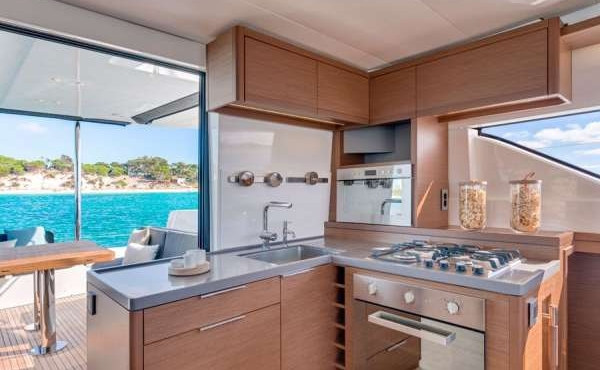 Kitchenette area of the boat with modern appliances