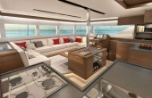 Large Open Plan area with white leather seating