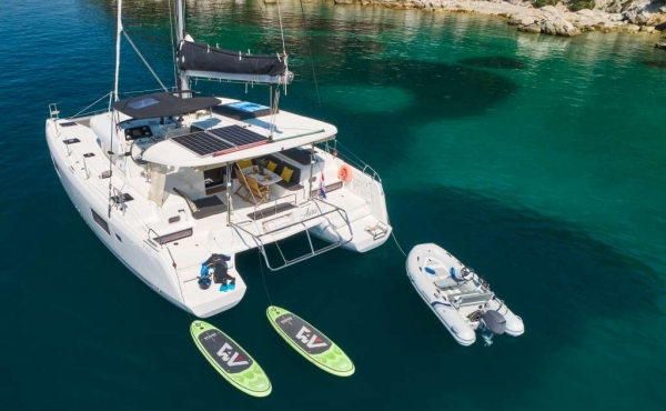 Lagoon 42 Aura with yacht toys in the water