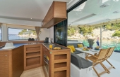 Open plan kitchen and dining area on board