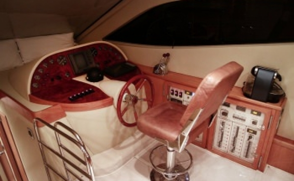The helm with steering wheel