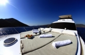 Sunbathing cushions on the top deck