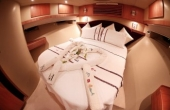 Inside the master cabin with fresh linen