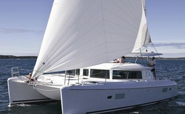 Catamaran sailing near to Greece