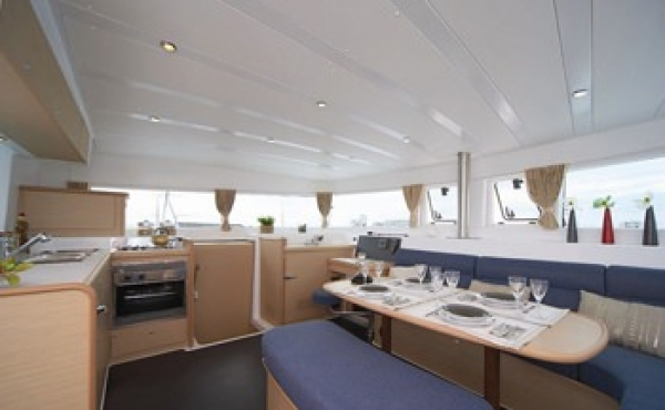 Internal shot of Catamaran used for sailing charters