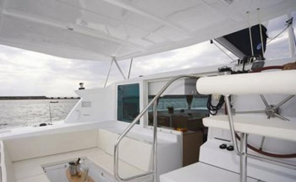 skipper on board a lagoon catamaran