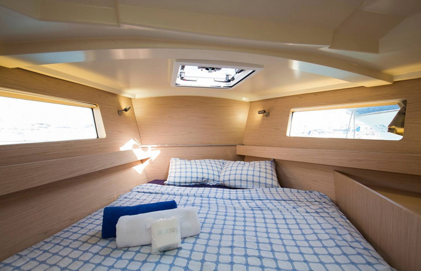 Beautiful interior inside double cabin with large windows for natural lighting
