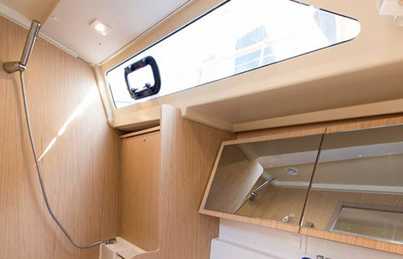 The storage area of inside the bathroom on the boat
