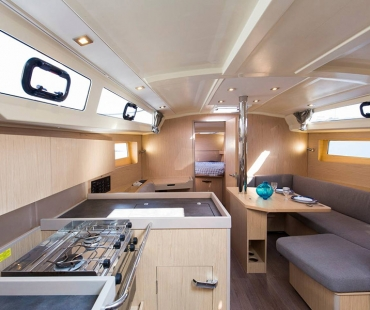 Big open plan kitchen and seating area on the boat
