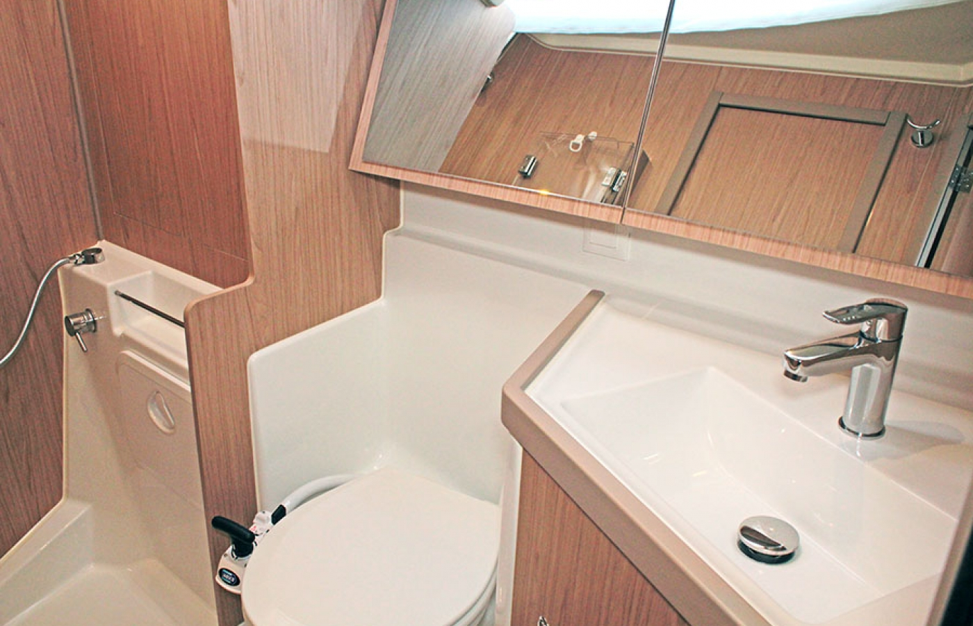 Toilet and sink with mirror cupboard