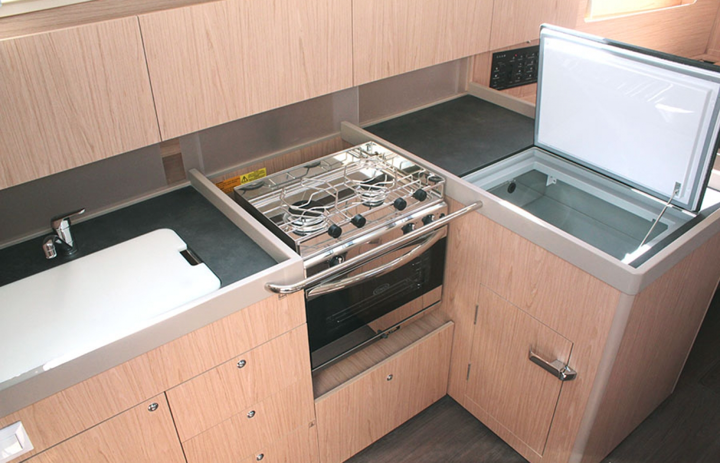 Kitchen area in the galley with modern appliances
