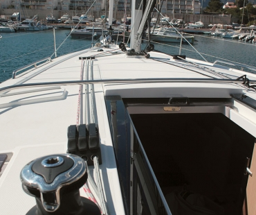 Staircase in to the galley of the Beneteau Oceanis 41.1. IBIZA