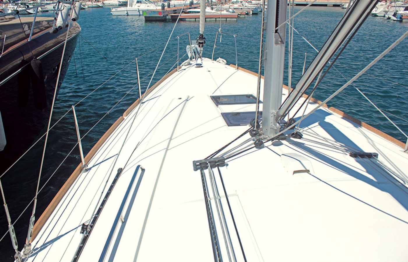 Bow of the Beneteau Oceanis 38.1. FREEDOM