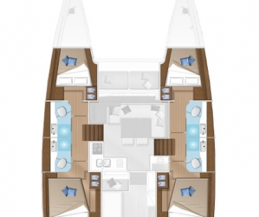 The layout of the Lagoon 40 - Milù