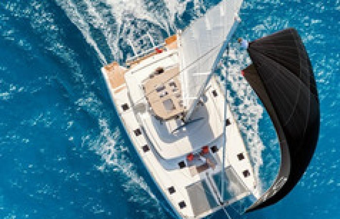 Birdseye view of the catamaran