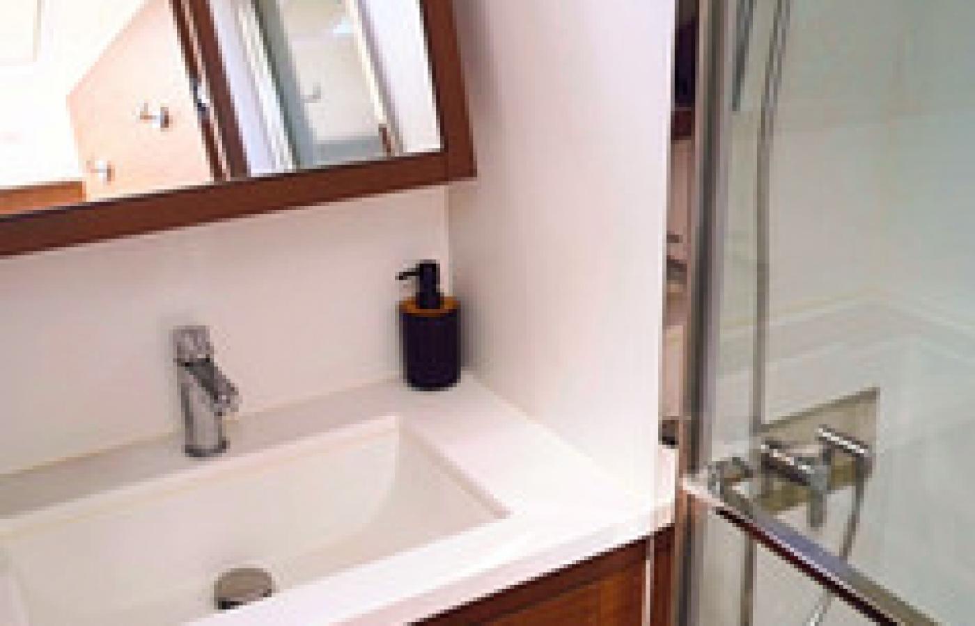 Sink, shower with mirror cabinet