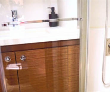 Bathroom sink with stainless steel sink
