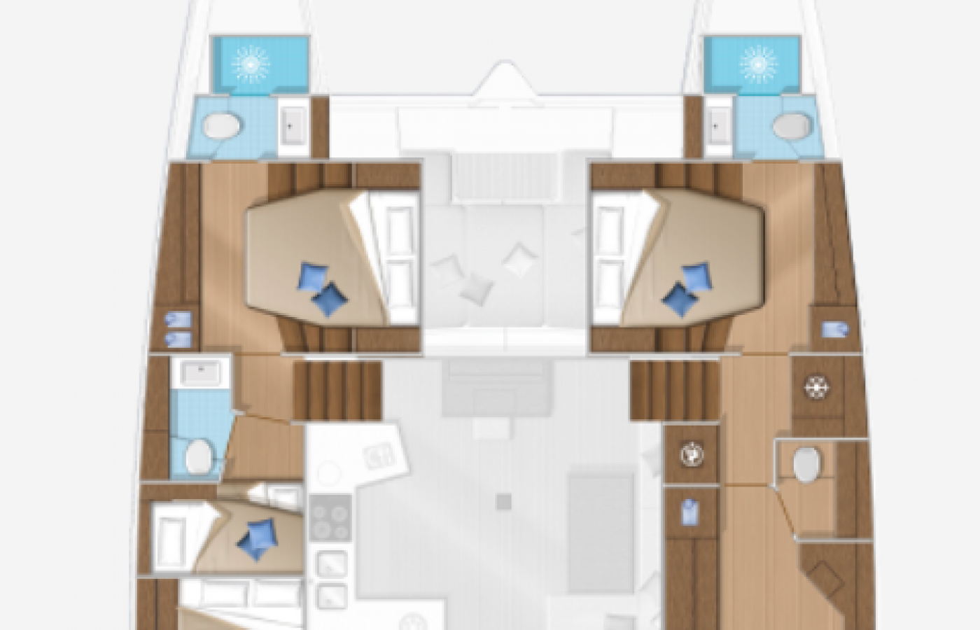 Layout of the Lagoon 52F Samoa including cabins