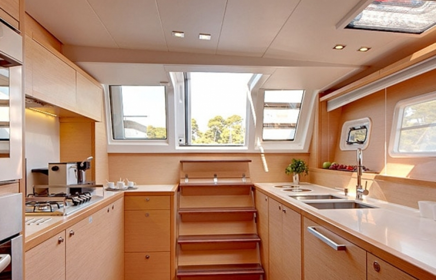 Large worktop area and stairs on board Lady Rachel