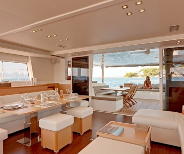 Galley and dining area on board Lady Rachel