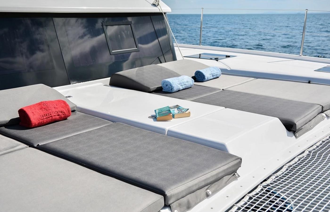Grey cushions on the sundeck