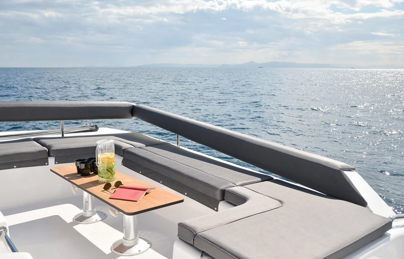 Large U shaped seating directly at the back of the boat.