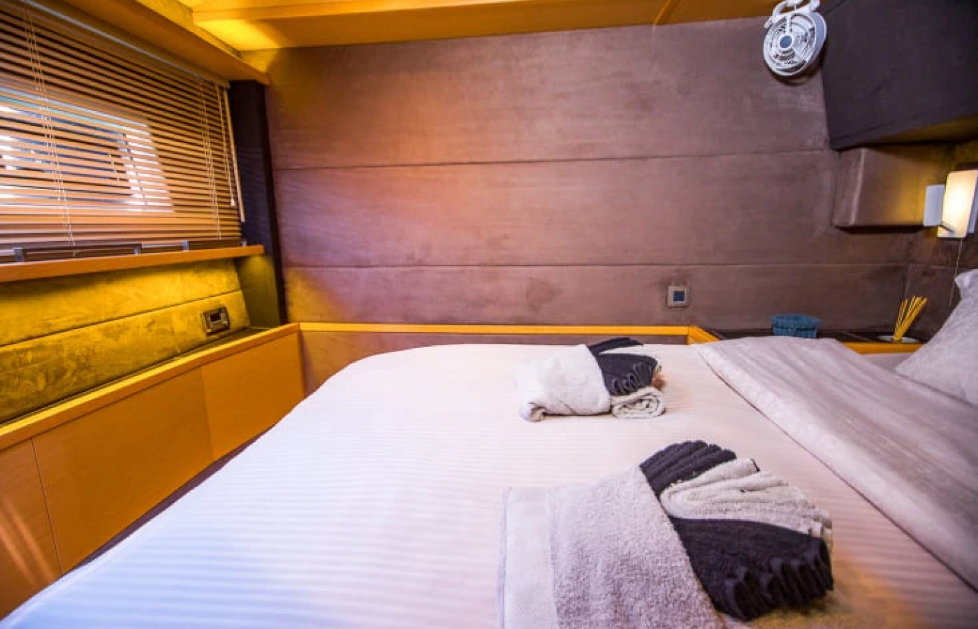 White and grey linen inside the cabins