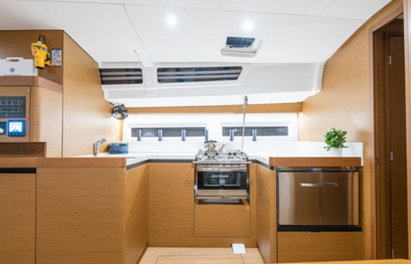 Close up of the galley and appliances