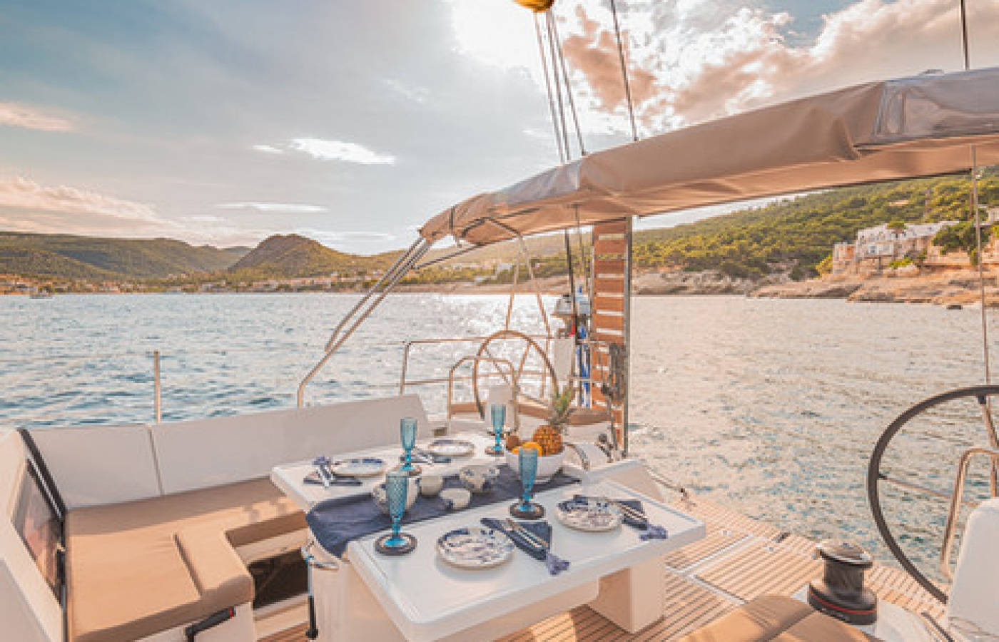 The dining table at the stern of the boat