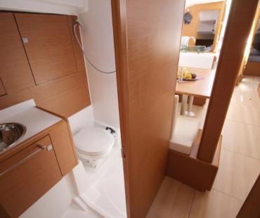 Bright interior inside WC on board