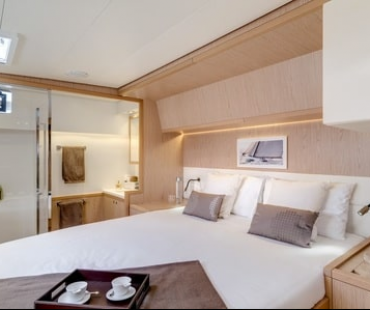 White and cream interior inside master cabin