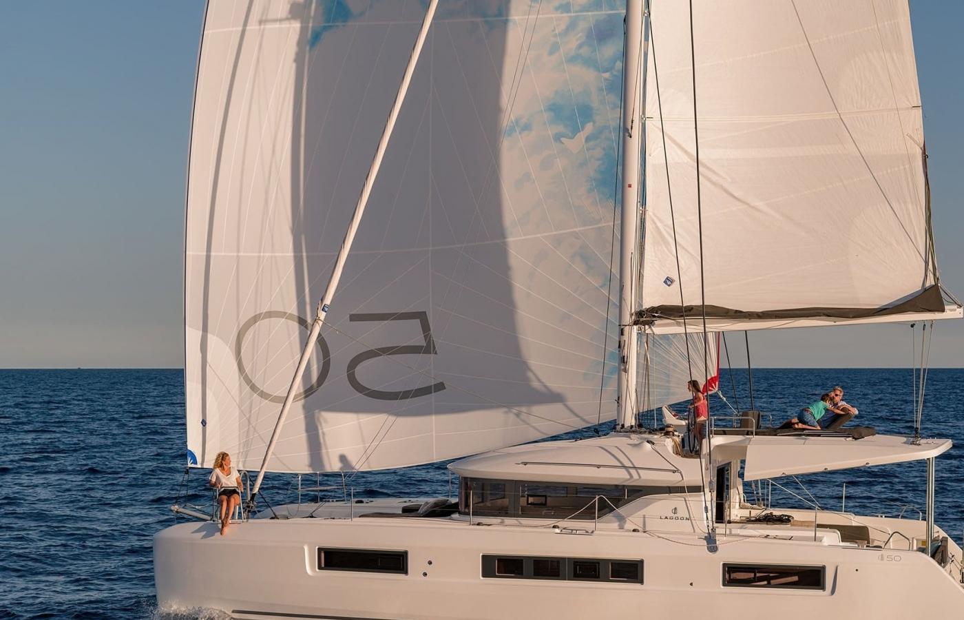 View of the main sails on board the Lagoon 50 - Ohana