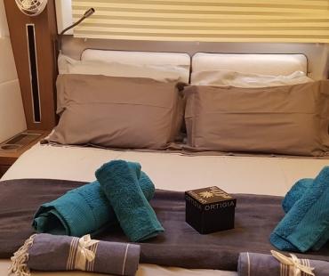 Luxury master bedroom onboard the Lagoon 50