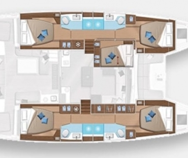 Lagoon 50 Ohana lower deck layout