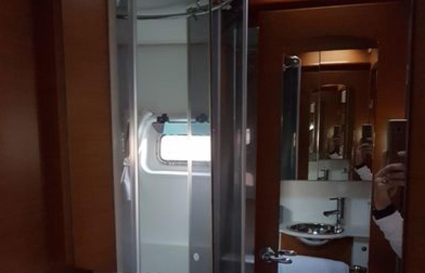 Shower room inside master cabin