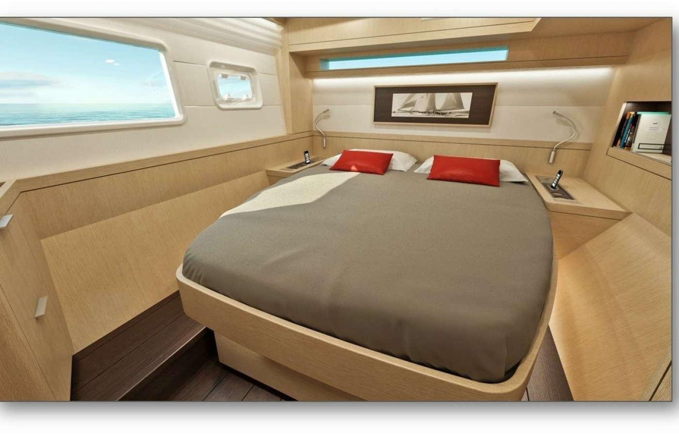 Double bed inside the master cabin