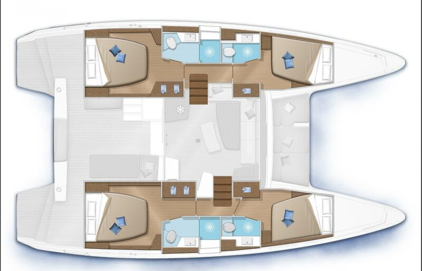 The dynamic Lagoon 42 - Alice layout below deck.