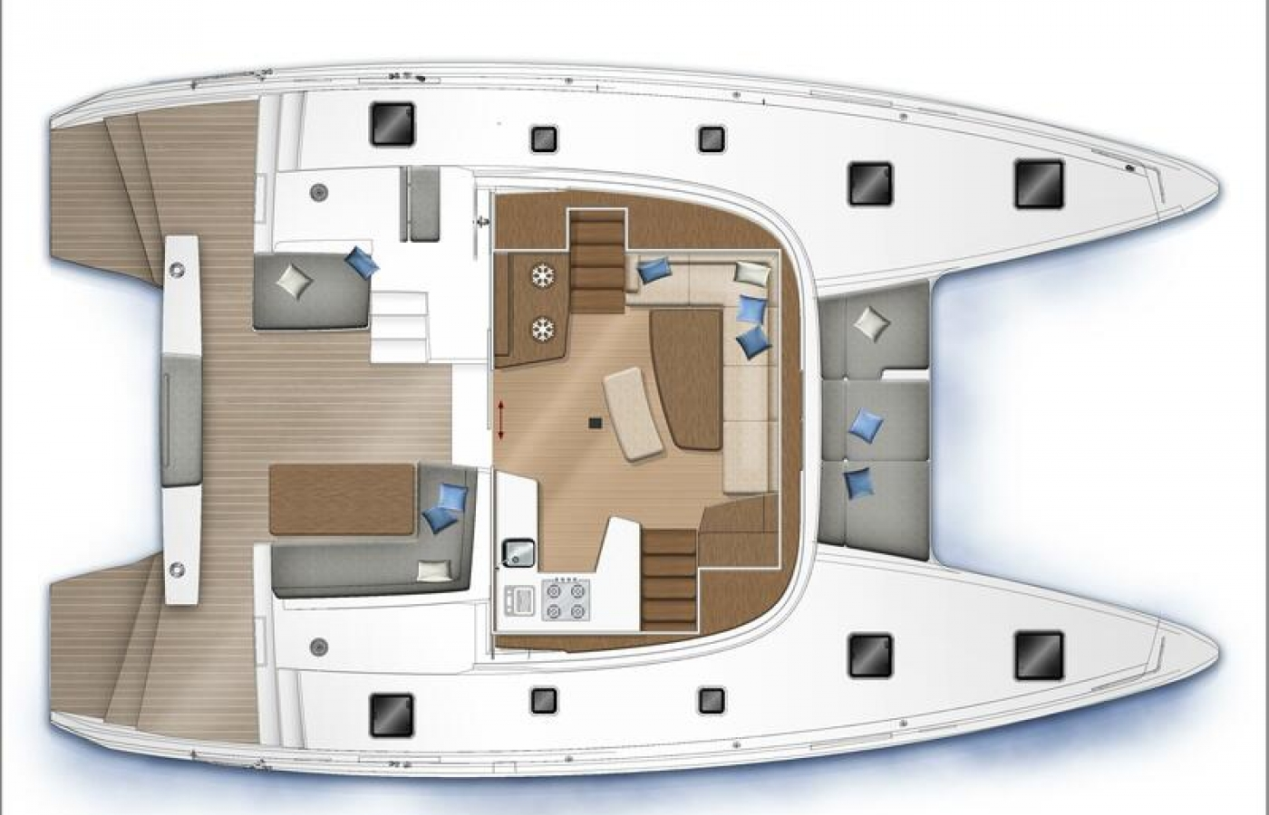 Lagoon 42 - Alice top deck layout.