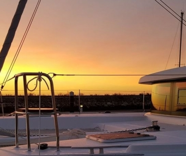 Sunset view at the stern of the boat
