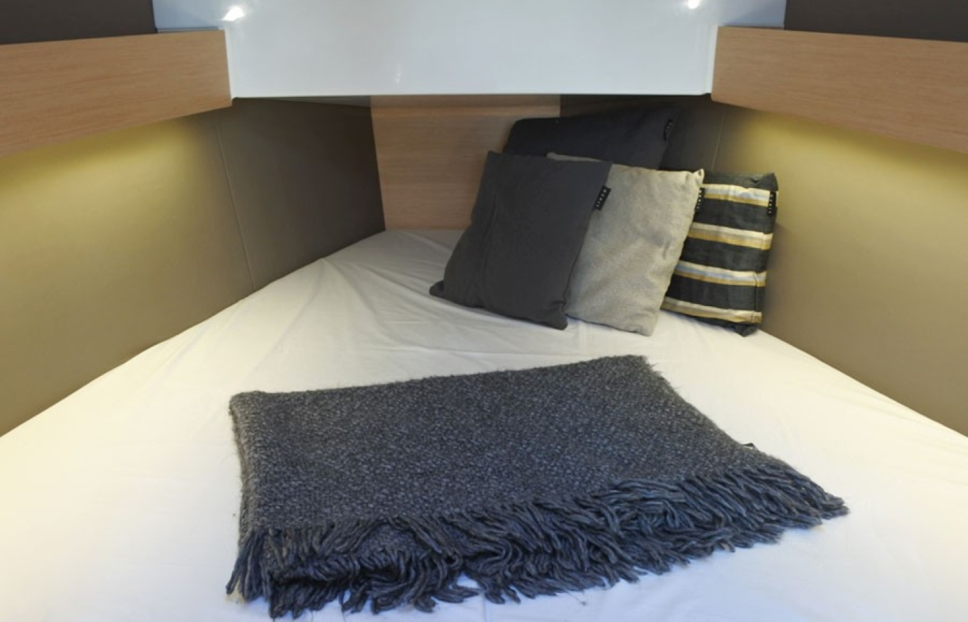 Master cabin with towels and linen