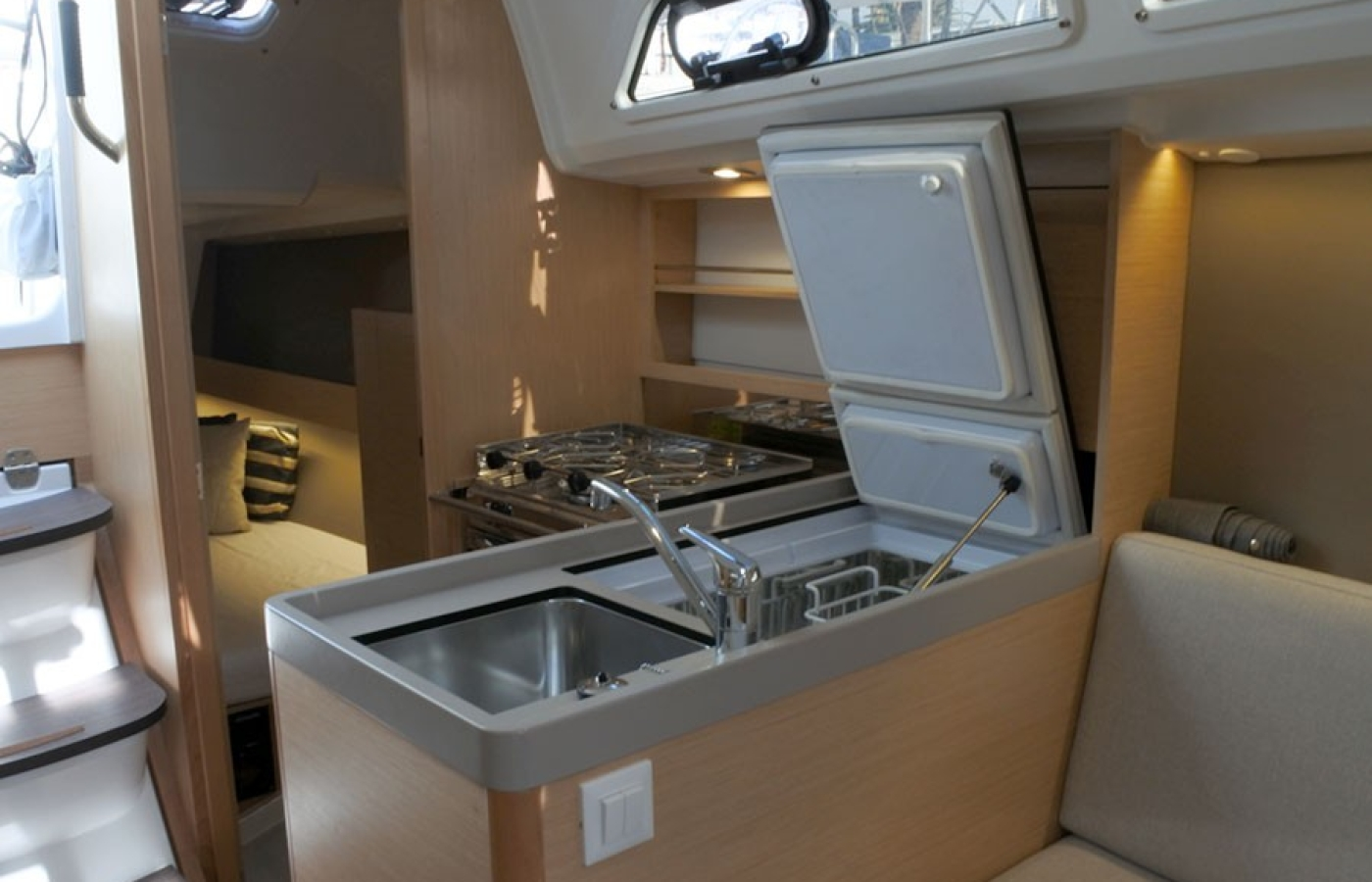 Galley with fridge and freezer