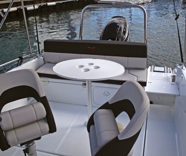 Seating and table area of the boat