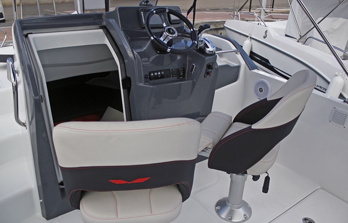 Cockpit of the boat and the seats