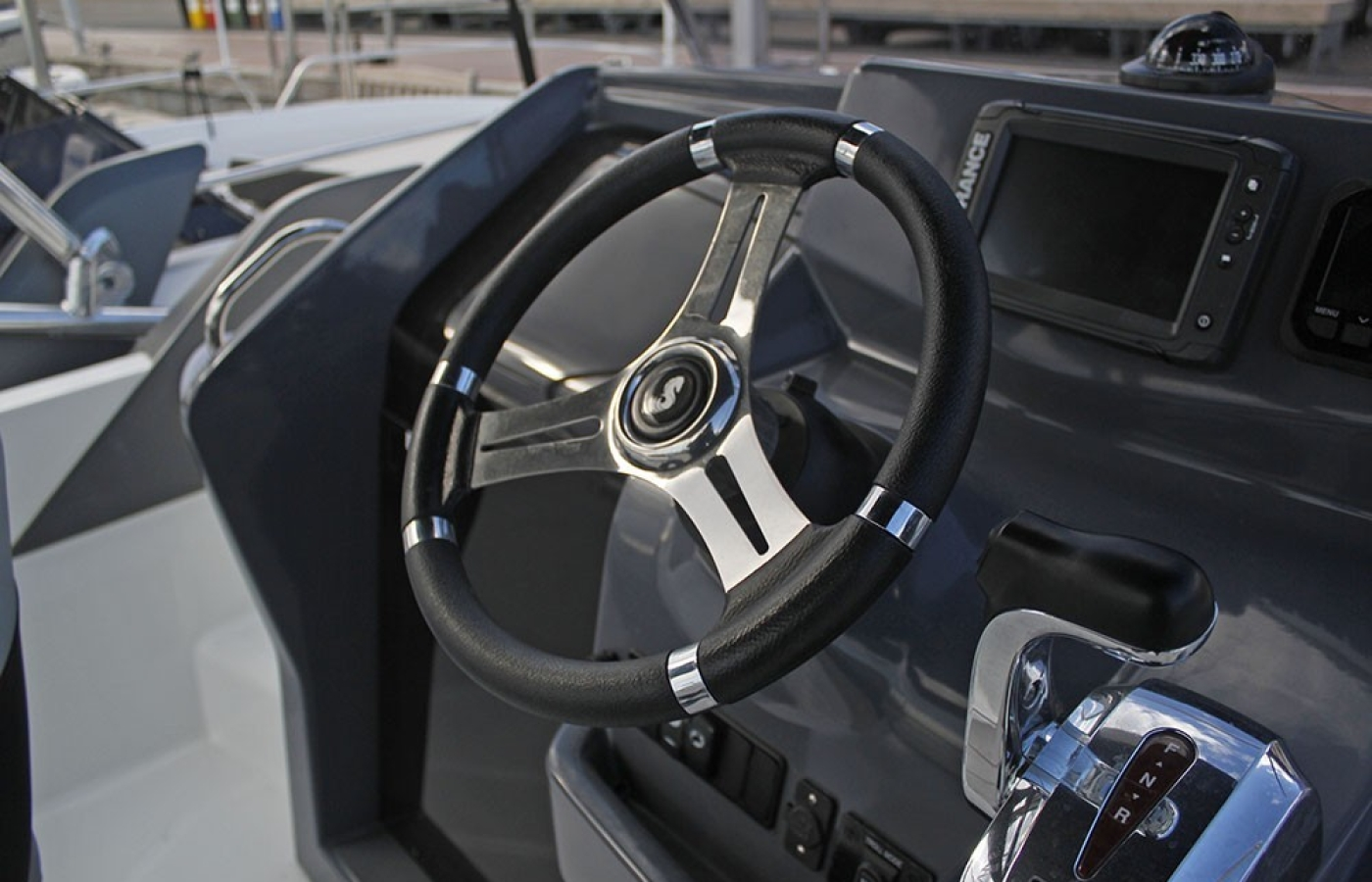 Close up view of the cockpit