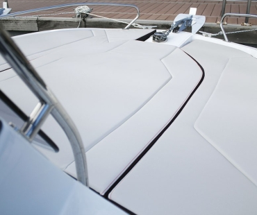 Close up view of the back of the boat
