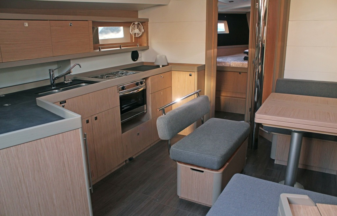 Galley with grey seating